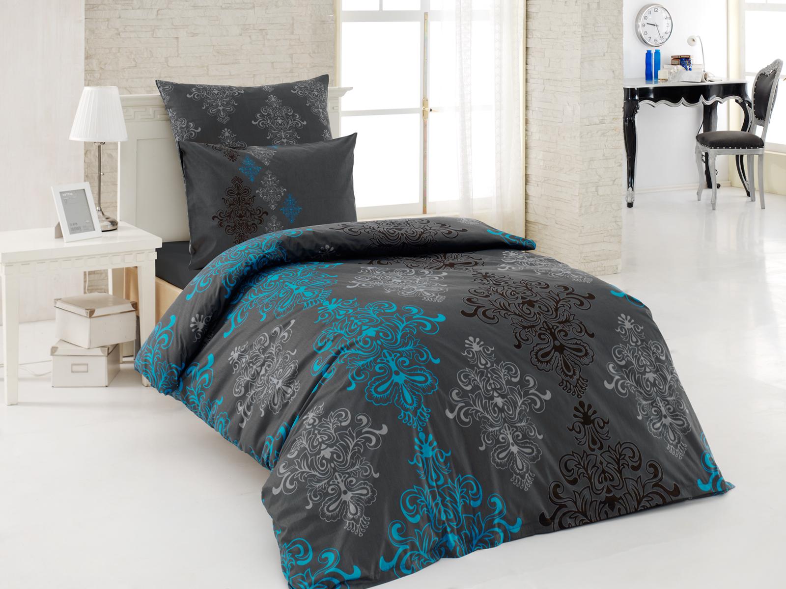 3 tlg renforce bettw sche 135x200 cm aura t rkis. Black Bedroom Furniture Sets. Home Design Ideas