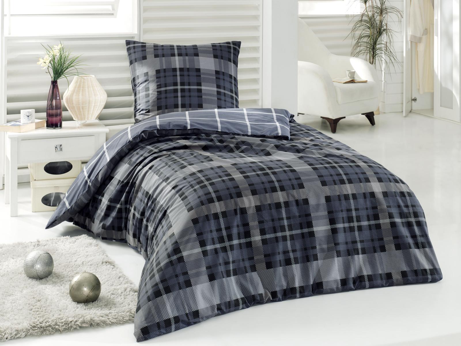 5 tlg renforce baumwolle bettw sche bettgarnitur 200x220 cm alonzo schwarz ebay. Black Bedroom Furniture Sets. Home Design Ideas