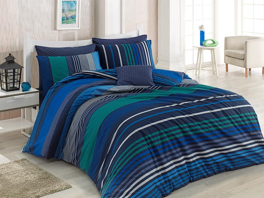 3 tlg renforce baumwolle bettw sche bettgarnitur 200x200 cm marley blau ebay. Black Bedroom Furniture Sets. Home Design Ideas