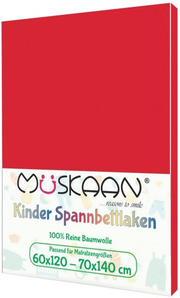 Kinder Jersey Spannbettlaken 60x120 - 70x140 cm Rot