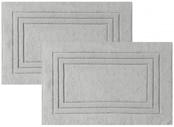 2er-Set Frottee Duschvorleger Badvorleger 50x80 cm Silber