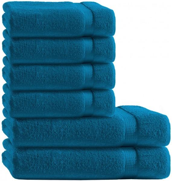 6 tlg. Frottee Handtuch Duschtuch Set Petrol