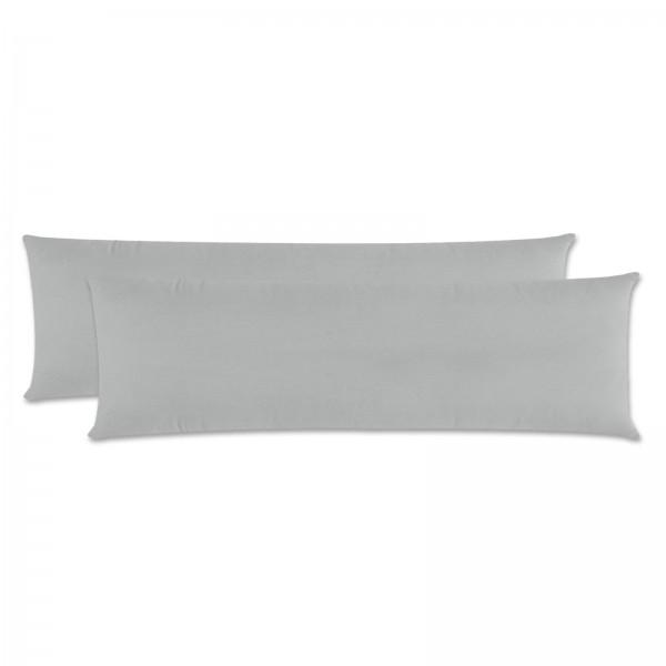 2er Pack Renforce Kissenbezug Seitenschläfer 40x145 cm Uni Silber