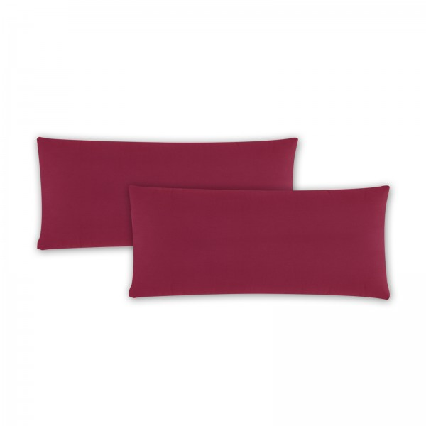 2er Pack Renforce Kissenbezug 40x80 cm Uni Bordeaux