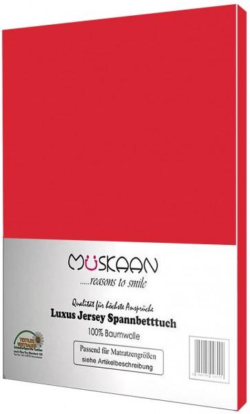 Jersey Spannbettlaken 90x200 - 100x200 cm Rot