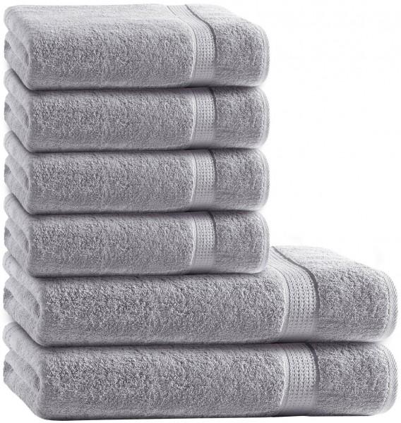 6 tlg. Frottee Handtuch Duschtuch Set Silber