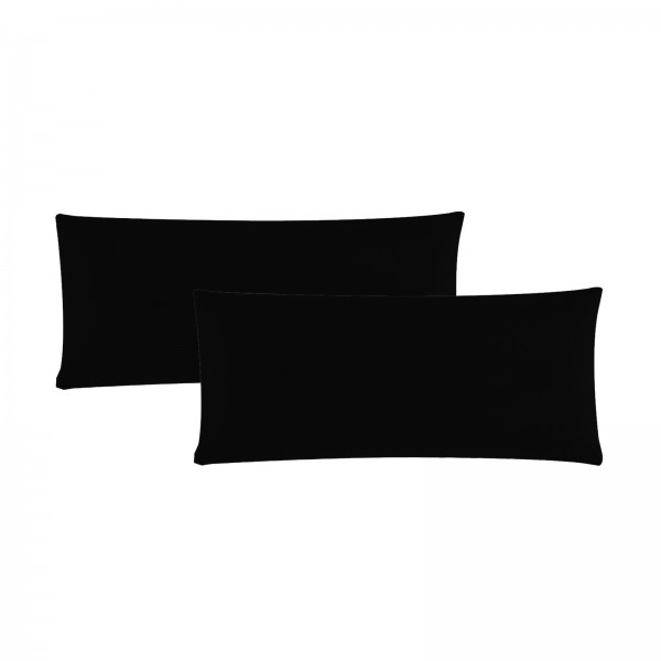 2er Pack Renforce Kissenbezug 40x80 cm Uni Schwarz