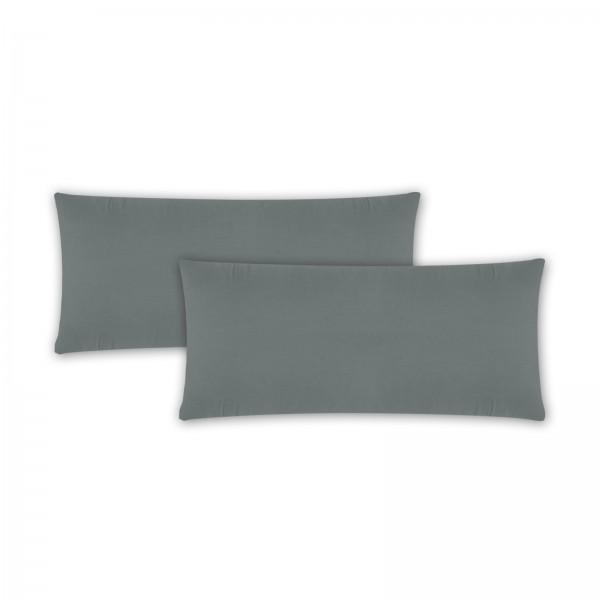 2er Pack Renforce Kissenbezug 40x80 cm Uni Grau
