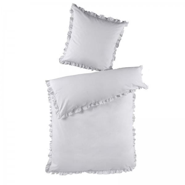 2 tlg. Renforce Baumwolle Bettwäsche mit Rüschen 135x200 cm Silber