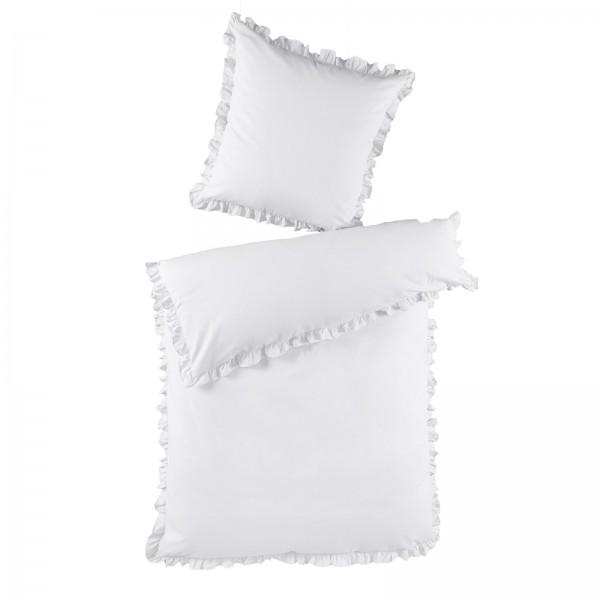 2 tlg. Renforce Baumwolle Bettwäsche mit Rüschen 155x220 cm Weiß
