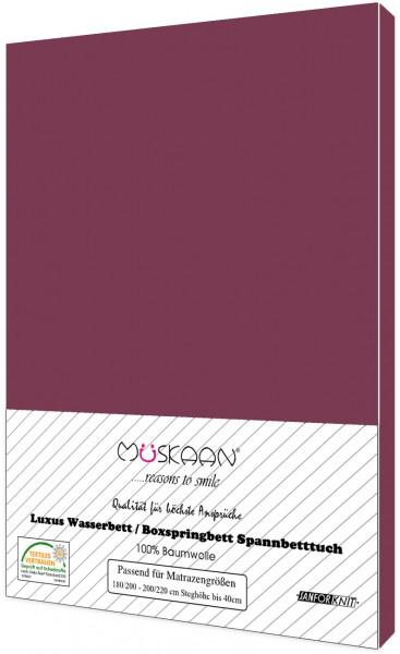 Boxspringbett / Wasserbett Jersey Spannbettlaken 180x200 - 200x220 cm Bordeaux