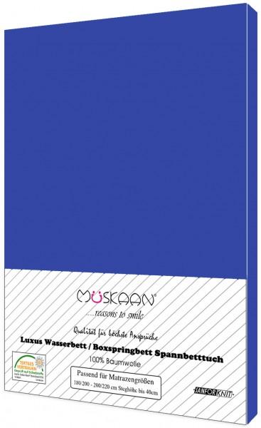 Boxspringbett / Wasserbett Jersey Spannbettlaken 180x200 - 200x220 cm Royalblau