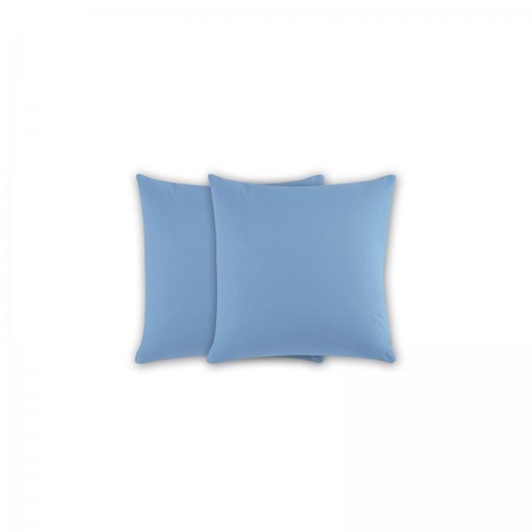 2er Pack Renforce Kissenbezug 40x40 cm Uni Aqua Blau