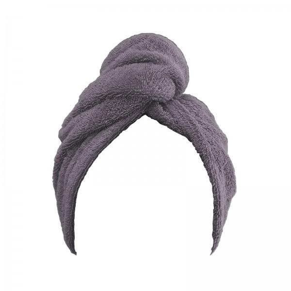 Frottee Turban Kopfhandtuch 27x72 cm Grau