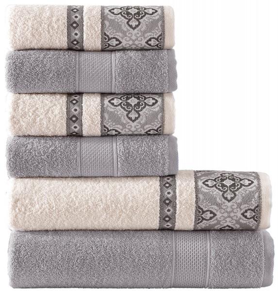 6 tlg. Frottee Handtuch Duschtuch Set Alya Grau