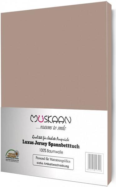 Jersey Spannbettlaken 180x200 - 200x200 cm Taupe