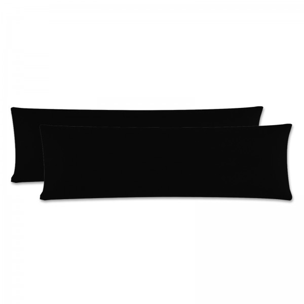2er Pack Renforce Kissenbezug Seitenschläfer 40x145 cm Uni Schwarz