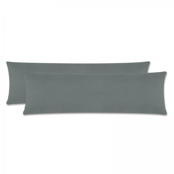 2er Pack Renforce Kissenbezug Seitenschläfer 40x145 cm Uni Grau