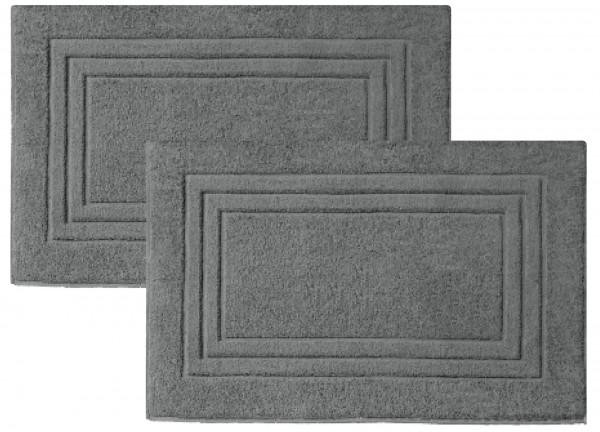 2er-Set Frottee Duschvorleger Badvorleger 50x80 cm Grau