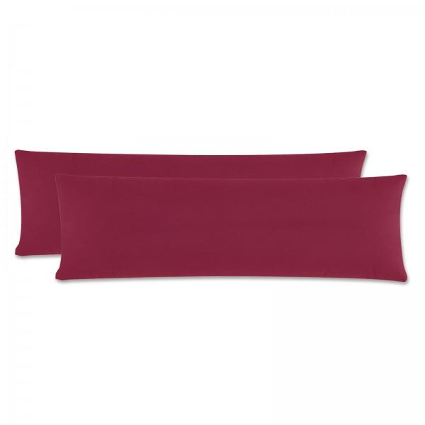2er Pack Renforce Kissenbezug Seitenschläfer 40x145 cm Uni Bordeaux