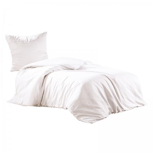 2 tlg. Mako Satin Baumwolle Bettwäsche 135x200 cm Uni Weiß