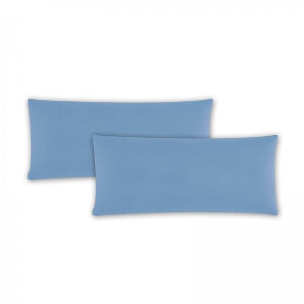 2er Pack Renforce Kissenbezug 40x80 cm Uni Aqua Blau