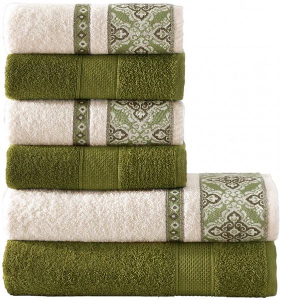 6 tlg. Frottee Handtuch Duschtuch Set Alya Grün