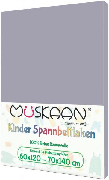 Kinder Jersey Spannbettlaken 60x120 - 70x140 cm Grau