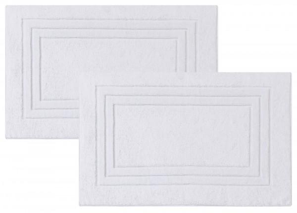 2er-Set Frottee Duschvorleger Badvorleger 50x80 cm Weiß