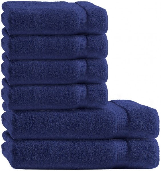 6 tlg. Frottee Handtuch Duschtuch Set Navy