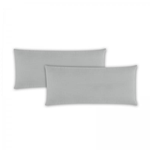 2er Pack Renforce Kissenbezug 40x80 cm Uni Silber