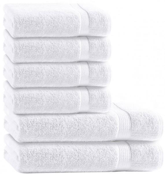 6 tlg. Frottee Handtuch Duschtuch Set Weiß